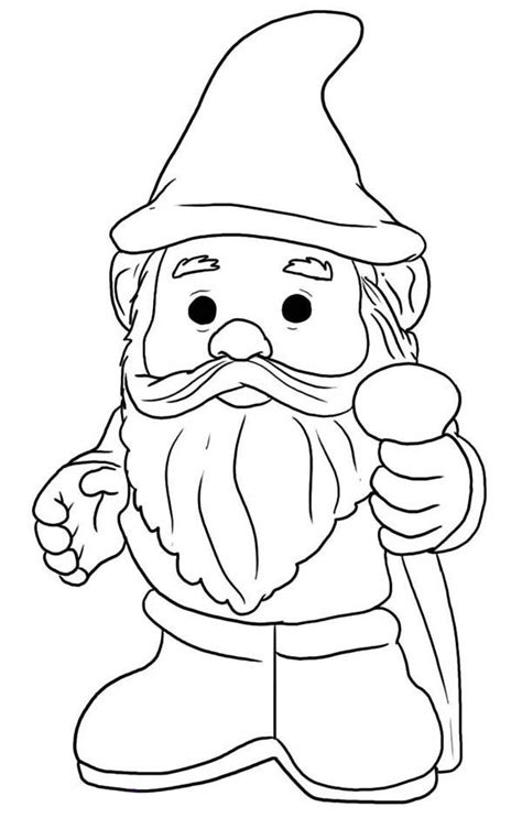 coloring page garden gnome gnome with pointy hat coloring page woodland creatures