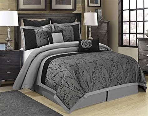 dark grey bedding 8 piece weistera jacquard tree branches comforter sets