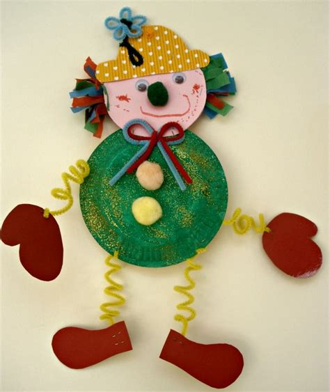 Clown Paper Plate Craft - clown craft idea for crafts and worksheets for