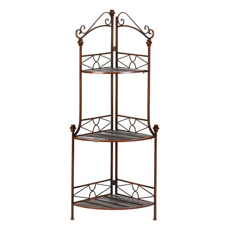 corner bakers rack with cabinet rustic corner bakers rack