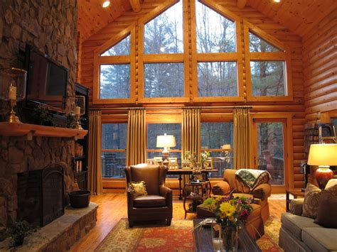 beautiful log cabin living rooms log cabin living room 2 sew bee it dressing up windows beauty and functionality