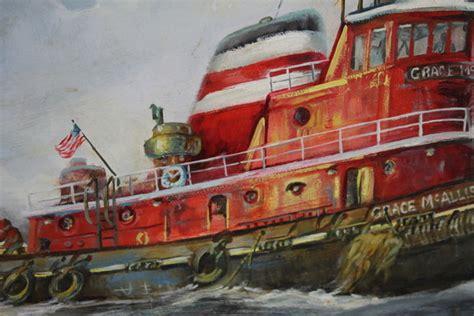 tugboat as jaya 2 vintage artist signed maritime oil painting grace