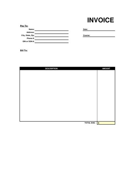 Free invoice Format in Excel   Word & PDF Templates
