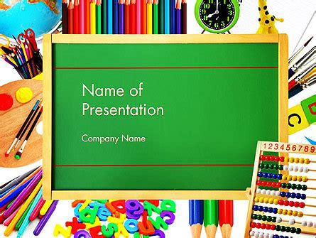 school supplies education powerpoint template school supplies border presentation template for