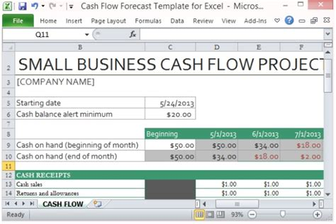 exle cash flow projection cash flow forecast template for excel