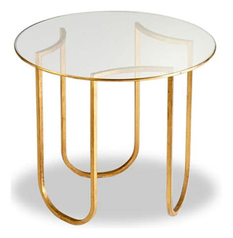 gold round side table vincent gold leaf round glass contemporary side table