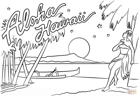 hawaiian coloring pages aloha hawaii coloring page free printable coloring pages
