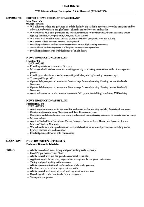 Production Assistant Resume by News Production Assistant Resume Sles Velvet