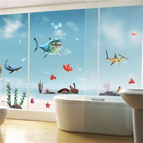 Hot sell favorite kid s nemo shark sticker waterproof wallpaper for bathrooms shower glass door