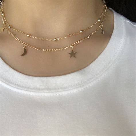 gold chain choker necklace by aliexpress buy layered gold choker necklace moon
