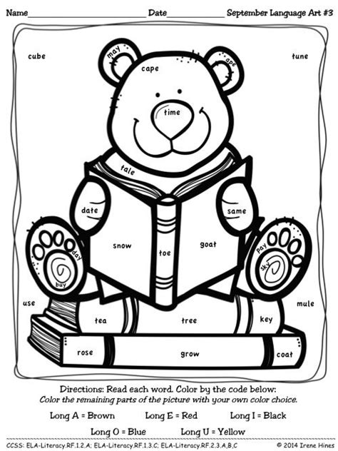 coloring pages for vowels september language quot quot color by the code puzzles