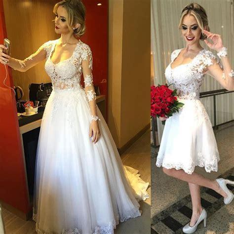 2 In 1 Hochzeitskleid by Marfim Frisada Lace Vestidos De Casamento Do Querido