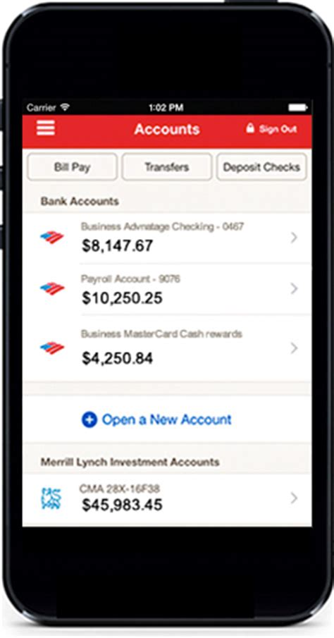 mobile banking account mobile banking features offered by bank of america small
