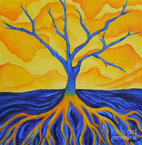 painting with colours contrasting tree painting by mittelbrunn