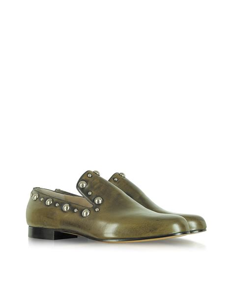 marc loafers marc studded calf leather loafer in green lyst