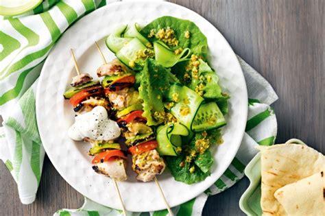 lamb kebabs and greek salad greek salad and chicken skewers recipe taste com au