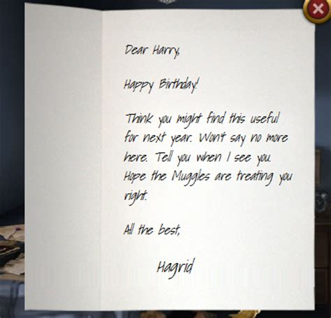 Birthday Card Letter Harry S Birthday Pottermore Wiki
