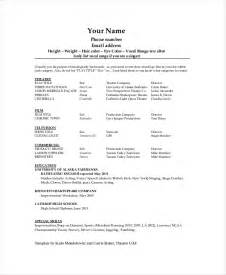 Tech Resume Templates by Theater Resume Template 6 Free Word Pdf Documents