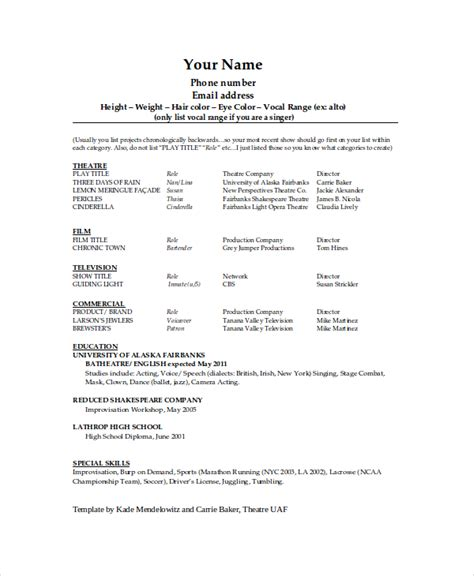 Theatre Acting Sle Resume by The General Format And Tips For The Theatre Resume Template
