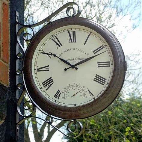 greenwich double sided station clock thermometer  gardenless uk shop