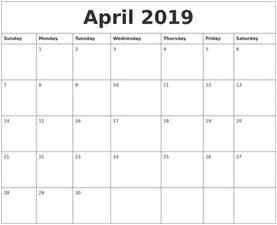 Calendar 2019 Word April 2019 Word Calendar