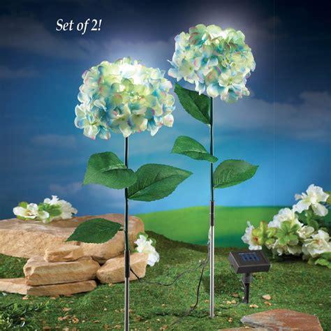 solar light garden stakes solar powered hydrangea garden stakes fresh garden decor