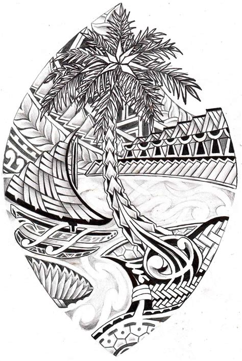 island sleeve tattoo designs drawing a with maori patterns drawing