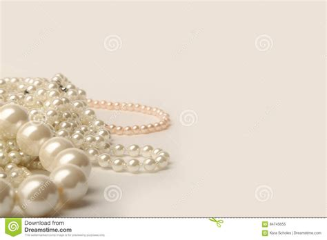 Beautiful Cream  Ee  Wedding Ee   Pearl Necklaces On A White