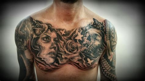 chest pieces tattoos chest by justyna kurzelowska 2