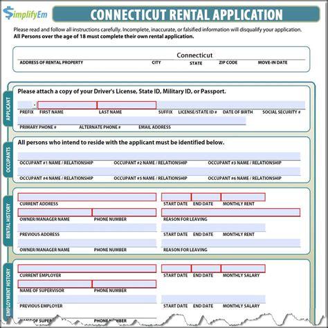 Apartment Rental Application Ct Connecticut Rental Application