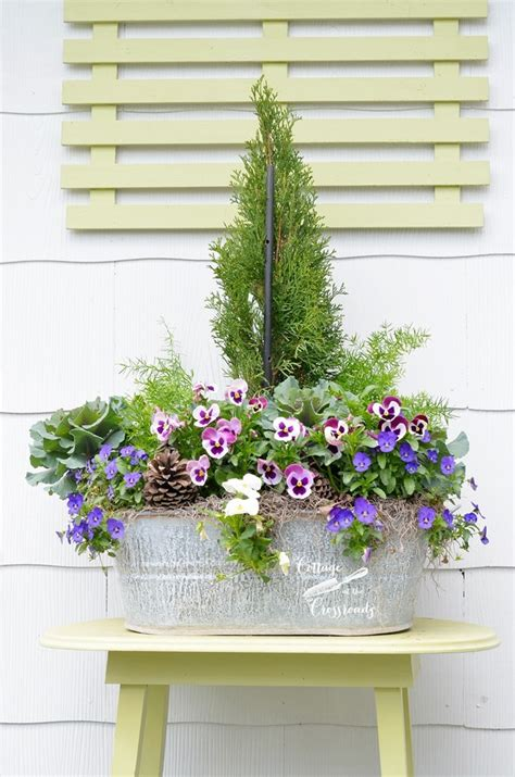 spring galvanized tub planter cottage at the crossroads