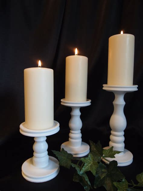 White Candle Holder Set Set Of 3 White Pillar Candle Holders