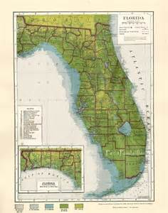 topographic map of florida state florida usa 1935 engraved topographic state map