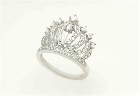 Crown Sterling Silver Ring sterling silver crown ring with stonestiara by victoriazsilver