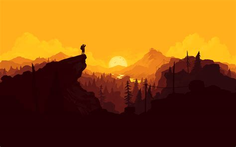 au nature sunset simple minimal illustration art wallpaper