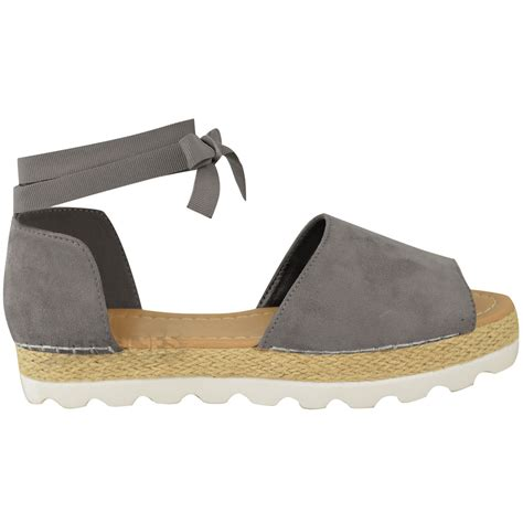 Wedges 5flat Fladeo womens flat lace up sandals espadrilles summer chunky shoes size ebay