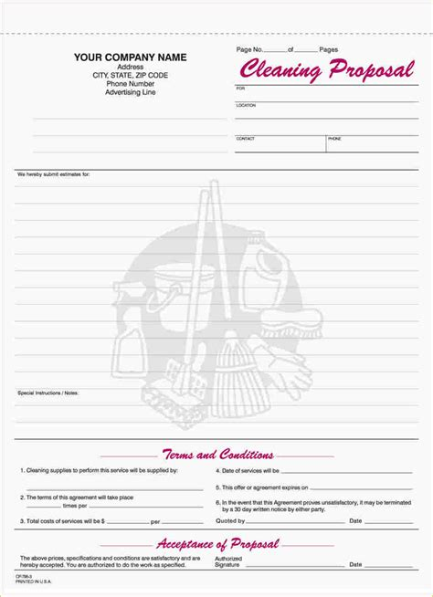Free Printable Proposal Forms Business Proposal Templated Business Proposal Templated Commercial Cleaning Template Free
