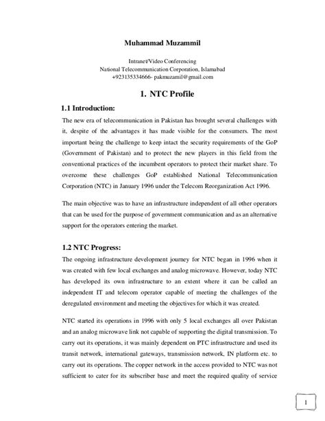 Introduction About Internship Mba by Ntc Internship Report