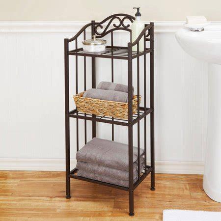 chapter 3 tier ornate metal bathroom floor shelf bronze