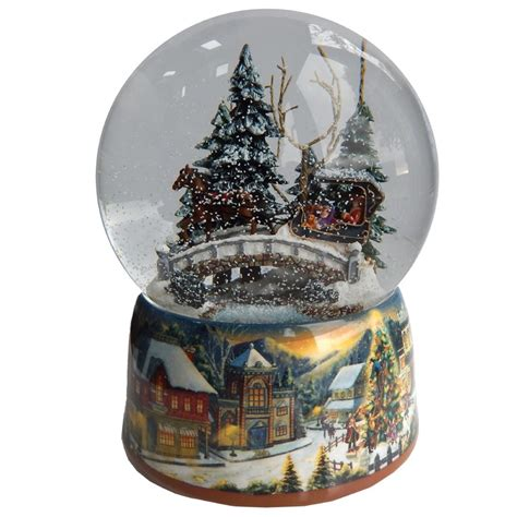 gifts kingdom large horse and carriage sleigh ride snow globe
