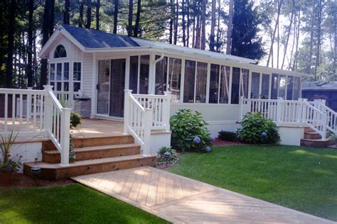 appealing mobile home deck design with taupe flooring