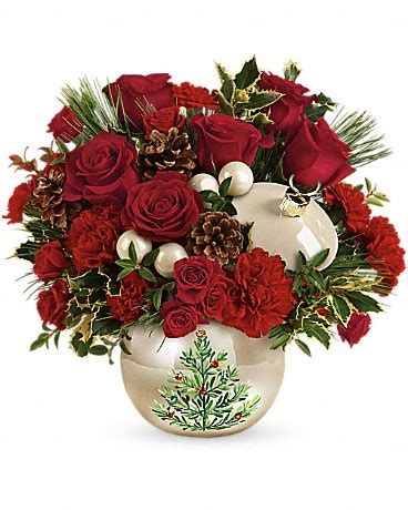 teleflora s classic pearl ornament bouquet at pesches