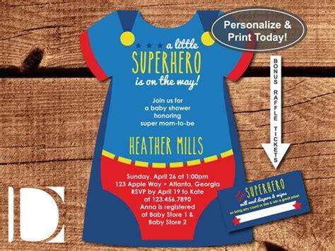 Superhero Baby Shower Invitation Onesie Invitation Superhero Blue And Red Superman Self Superman Baby Shower Invitation Template