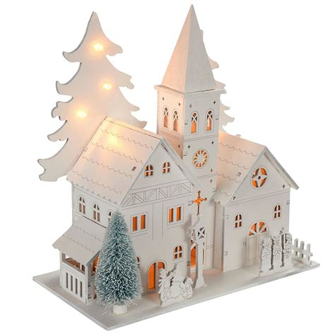 how to make wooden a christmas church decoration wooden church house warm white led lights ebay