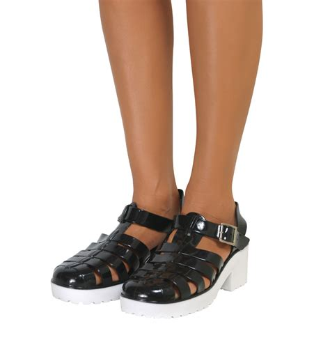 gladiator jelly sandals jelly sandals chunky block heel retro