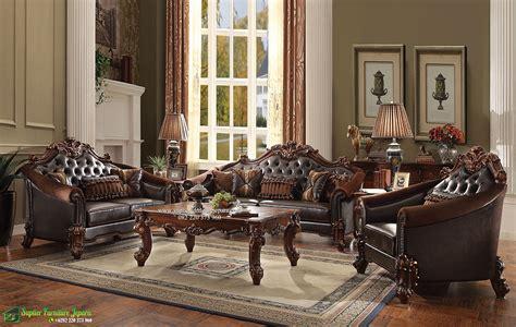 Kursi Davinci sofa ruang tamu set mewah ukiran klasik kayu jati terbaru
