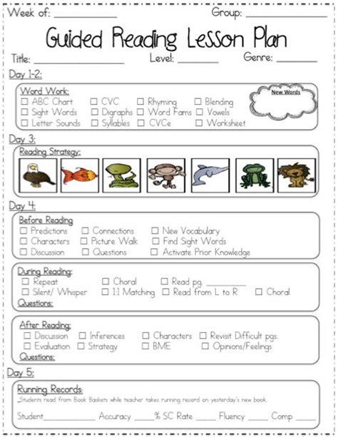 guided reading lesson plan template kindergarten guided reading lesson plan template images