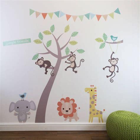 pastel jungle animal wall stickers  nursery
