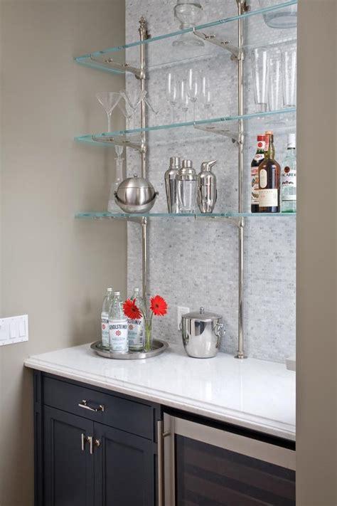 bar glass shelves Home Bar Contemporary with bar Bar