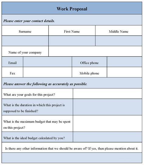 work proposal form sle work proposal form sle forms